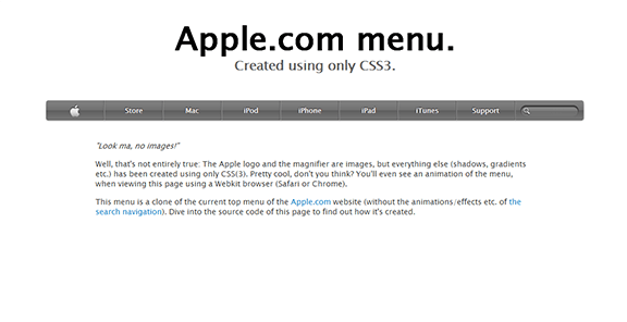 Menu Apple.com