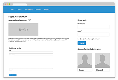 Panel rejestracyjny oparty na PHP