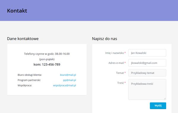 Infromacje kontaktowe na stronie internetowej
