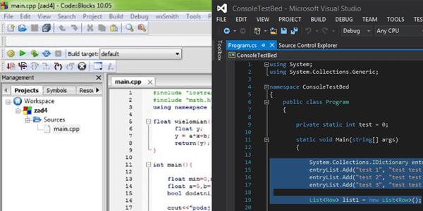 Porównanie code block oraz visual studio