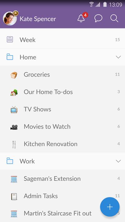 Aplikacja mobilna Wunderlist