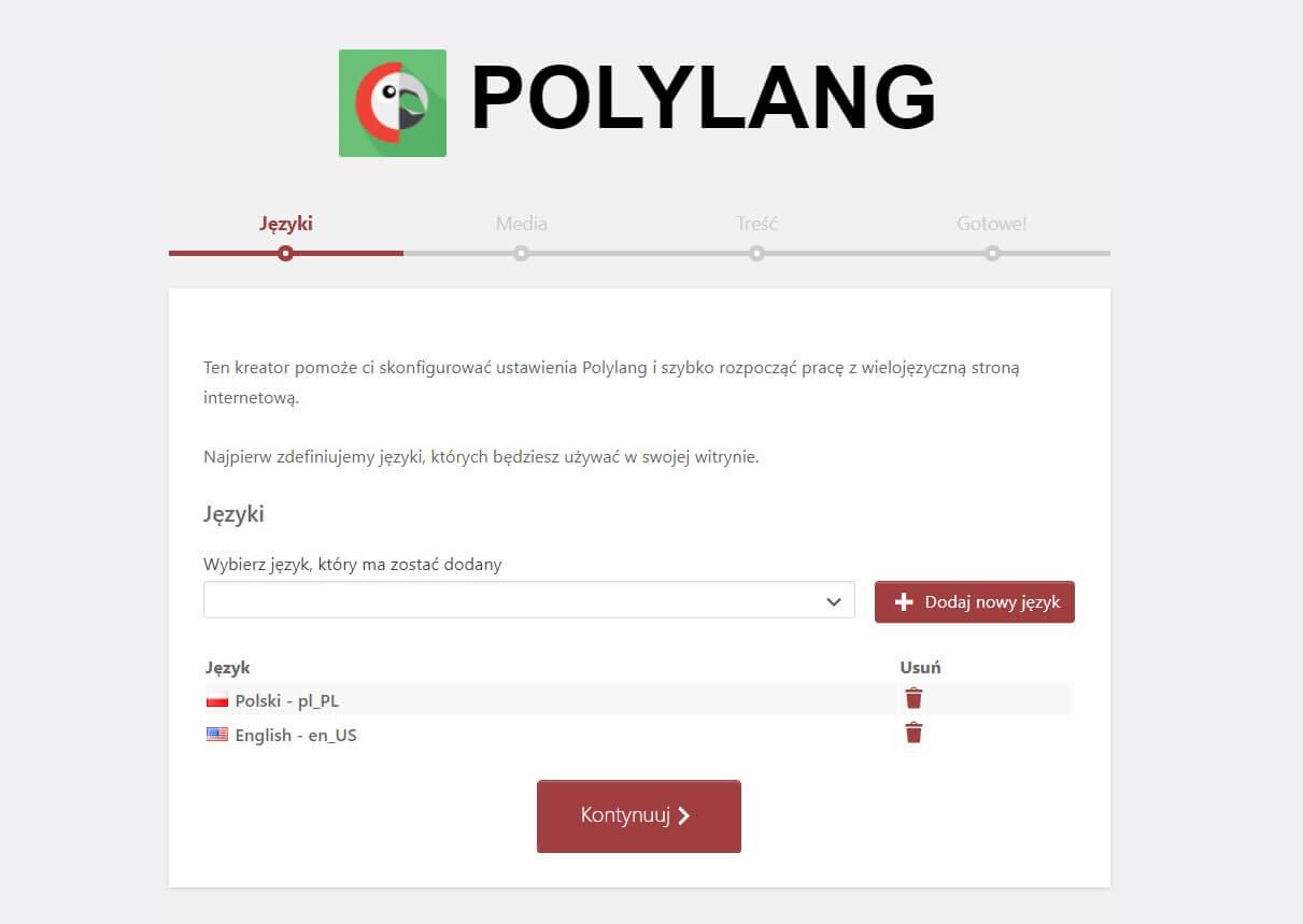 konfiguracja polylang
