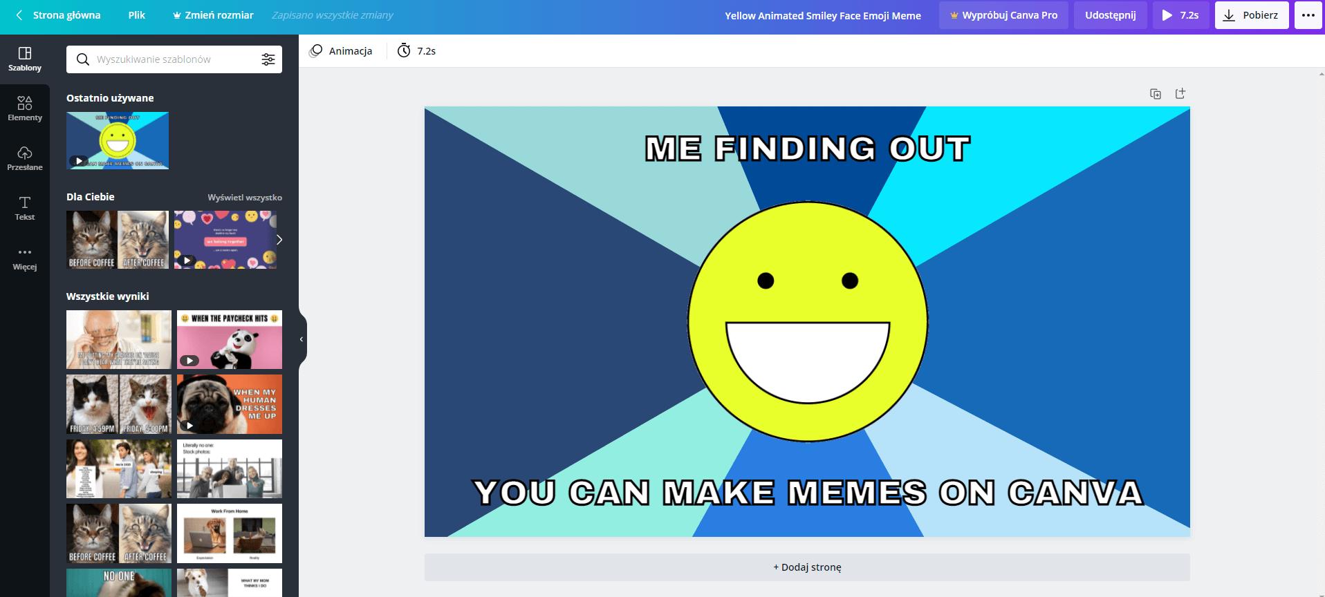 tworzenie mema canva