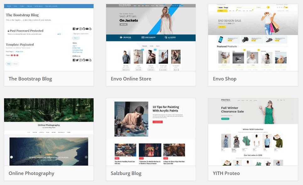 Przykładowe bezpłatne motywy WordPress, pochodzące od developerów