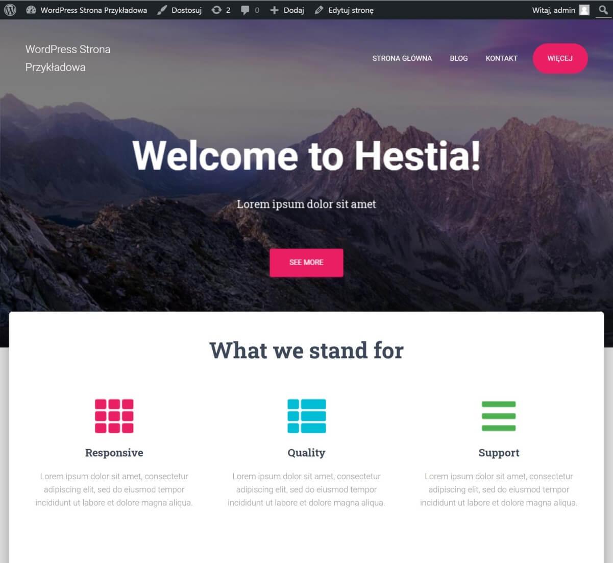 bezpłatny motyw - Hestia